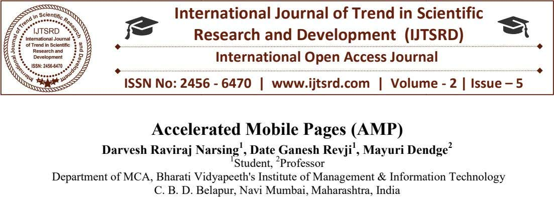 Inte rnational Journal of Trend in S cientific R esearch and Development (IJT SRD) International