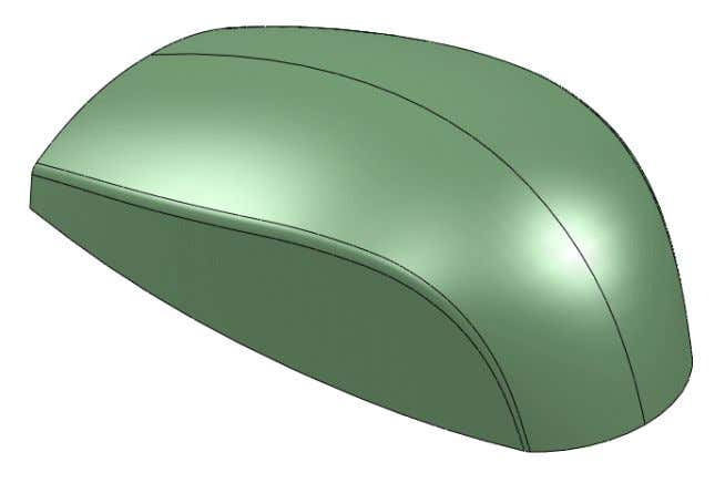 sketch picture and create a side surface, fillet, and other operations to complete the mouse per