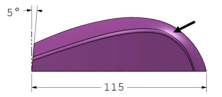 keeping the length of the mouse as shown in the image. Top surface -Measure the top