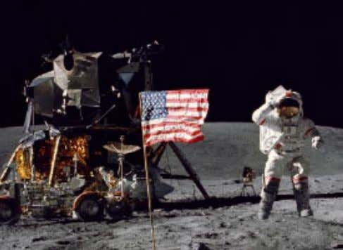 international endeavor ever undertaken, orbits the Earth. Astronaut John Young salutes the flag on Apollo 16.