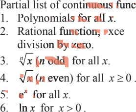 Partial list of continuous titinuousnuous func ffununcc 1. Polynomials s s for rr ffoo aa