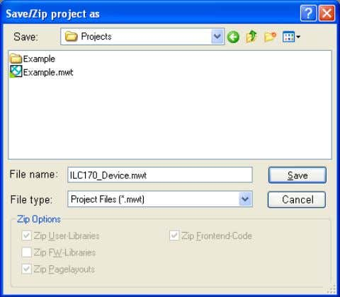 "name (here: ILC170_Device) and save the project. "" command. Figure 3-6 Save project 3-6 PHOENIX CONTACT"
