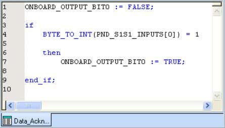 • Insert the following program to your worksheet. Figure 3-11 Inserting the program The ONBOARD-OUTPUT_BIT0