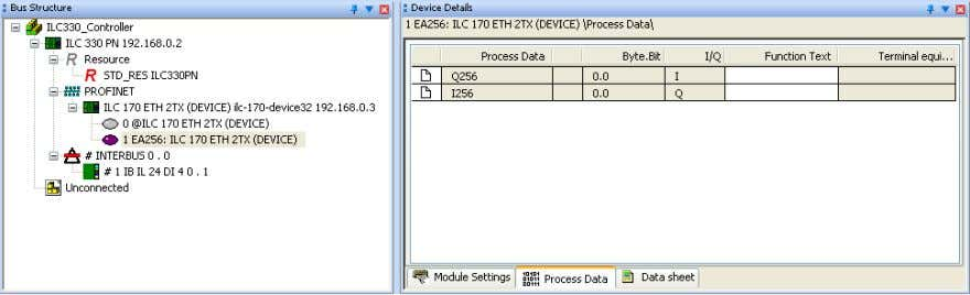 "Device Details workspace of the ""Process Data"" tab. Figure 3-19 Process data of the PROFINET device"