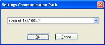 address or the one you have selected for your application. Figure 3-33 Setting the communication path