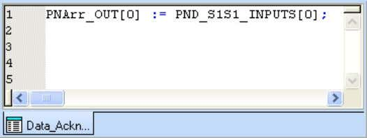 • Insert the following program to your worksheet. Figure 4-17 Inserting the program The PNArr_OUT[0] variable