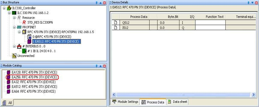 "Device Details workspace of the ""Process Data"" tab. Figure 4-26 Process data of the PROFINET IO"