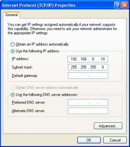 In this example the PC receives the address 192.168.0.10. Figure 4-32 Assigning an IP address •