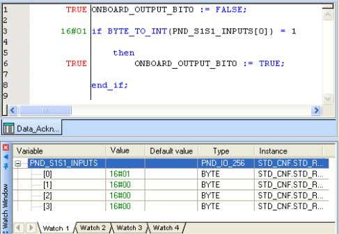 because the ONBOARD_INPUT_BIT0 variable is reset to FALSE. Figure 4-52 Program is stopped When communication is