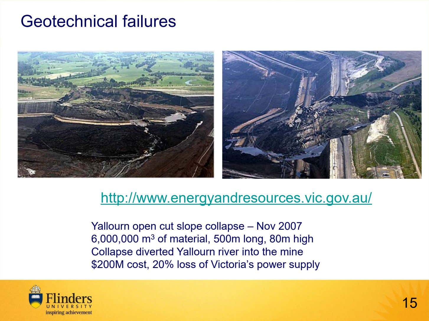 Geotechnical failures http://www.energyandresources.vic.gov.au/ Yallourn open cut slope collapse – Nov 2007 6,000,000