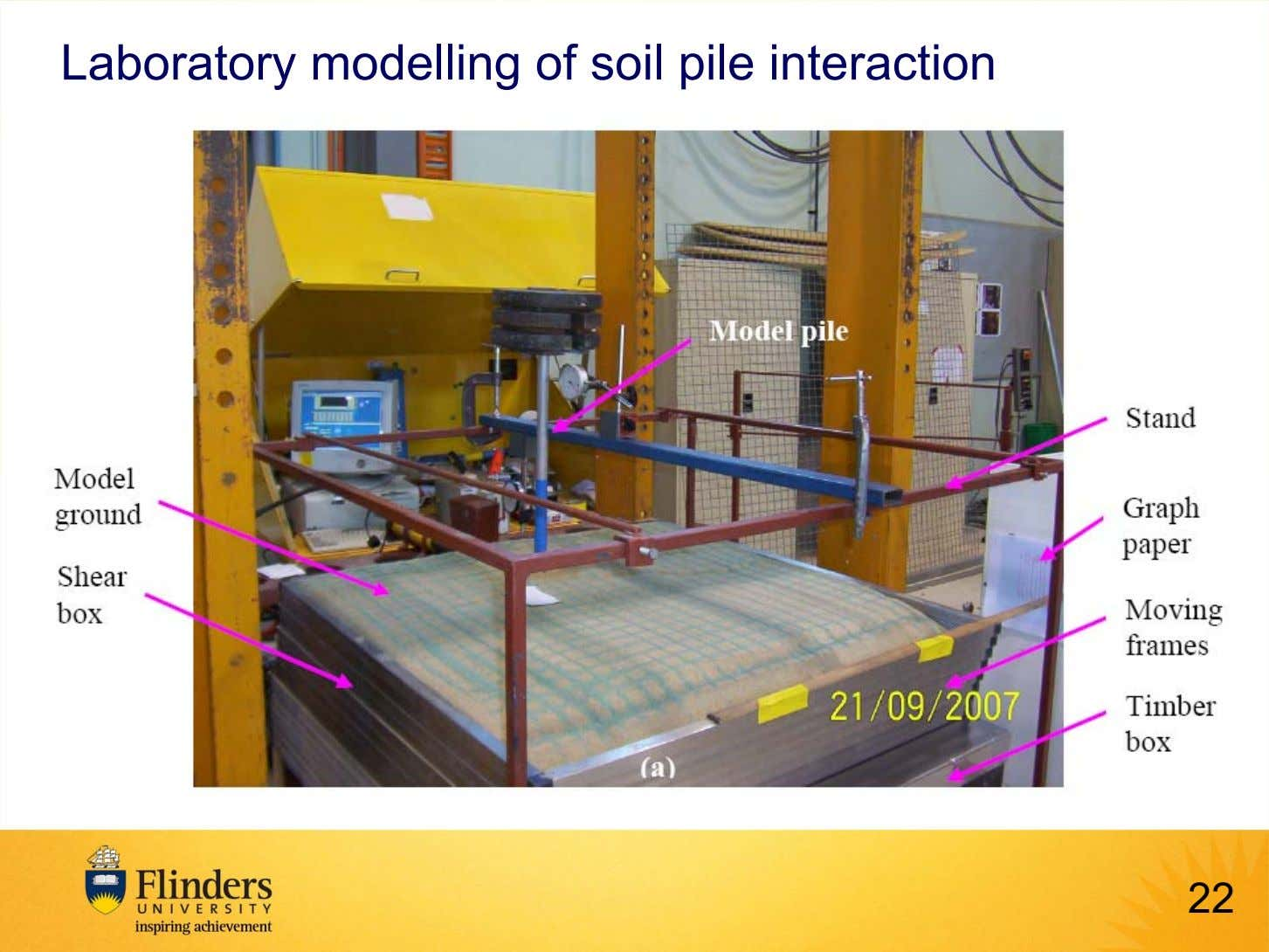 Laboratory modelling of soil pile interaction 22