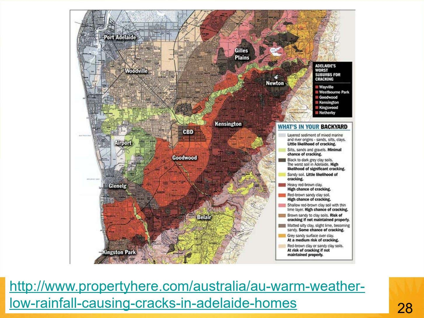 http://www.propertyhere.com/australia/au-warm-weather- low-rainfall-causing-cracks-in-adelaide-homes 28