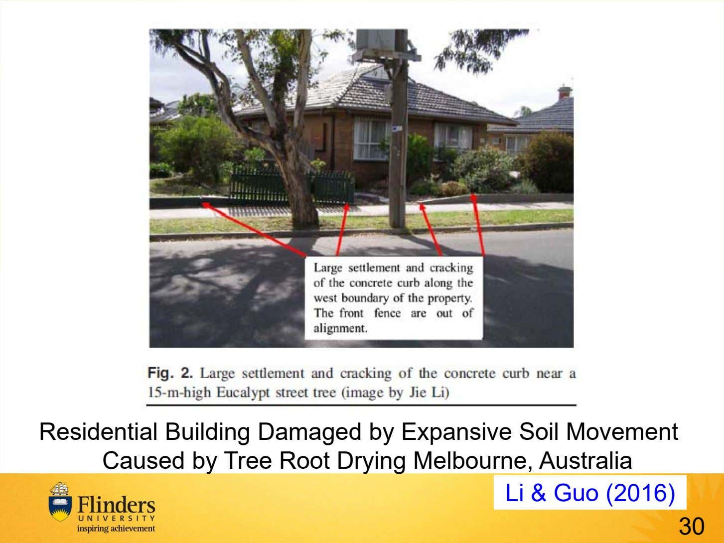Residential Building Damaged by Expansive Soil Movement Caused by Tree Root Drying Melbourne, Australia Li