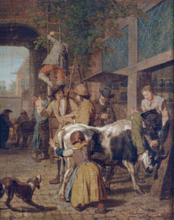 "Young Girl in Stays ""The Cattle Market"" by Jan Josef Horemans I (Flemish)"