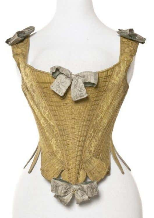 French Lace Silk Damask & Linen Corset c. 1735 - 1770 (Les Arts Décoratifs)