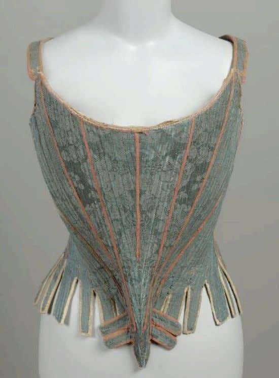 French Blue Silk Damask Corset with Printed Linen Lining c. 1750 (Museum of Fine Arts,