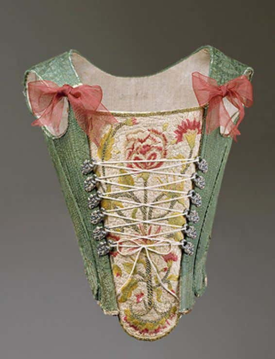 European Green Silk Damask Corset 3rd Quarter 18th Century (Metropolitan Museum of Art)