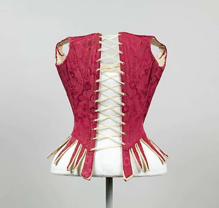 European Red Silk, Leather, Iron, Baleen, and Linen Stays c, 1775 - 1785 (Metropolitan Museum
