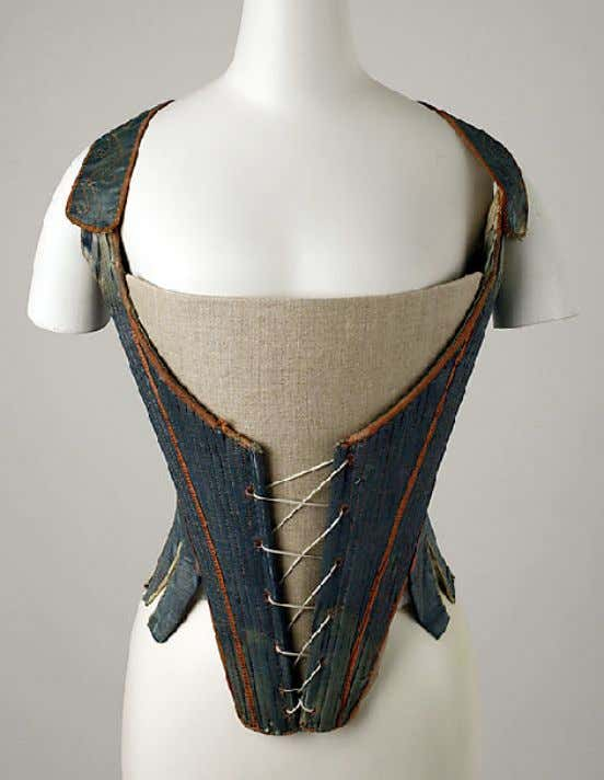 Italian Silk Stays (Front) Mid 18th Century (Metropolitan Museum of Art)