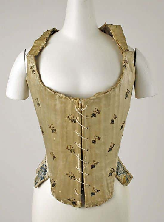 Italian Silk Stays (Front) c. 1780 (Metropolitan Museum of Art)