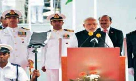 warship constructed and delivered by an Indian Shipyard. PM during Commissioning Ceremony of MOPV 'Barracuda'