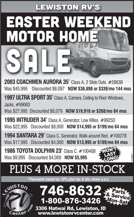 LEWISTON RV'S Easter Weekend Motor Home Sale