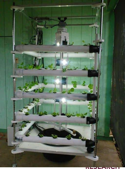 Vertical Tower Unit with Spinning lights in the middle.  Hydroponics  De-humidification, heating, cooling systems.