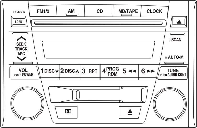 TAPE AND COMPACT DISC PLAYER/CHANGER (IN-DASH CD CHANGER) Volume/power control Ensure that the ignition is either