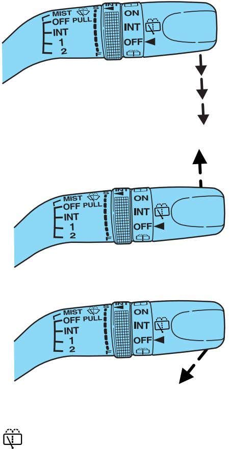 wiper/washer controls For intermittent operation of rear wiper, rotate end of control upward to the INT