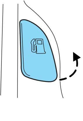 is equipped with a locking fuel filler door. To open the door, pull the handle up