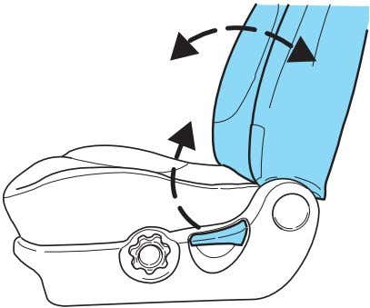 reclined position while the vehicle is Lift handle to move seat forward or backward. Pull lever