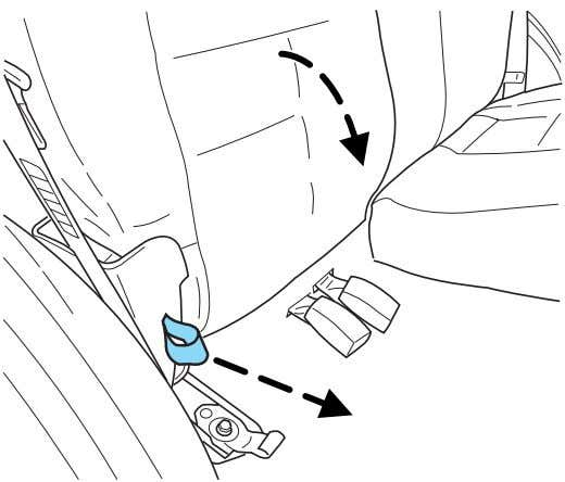 buckle heads may break if they are trapped underneath the seatback as the seatback is rotated
