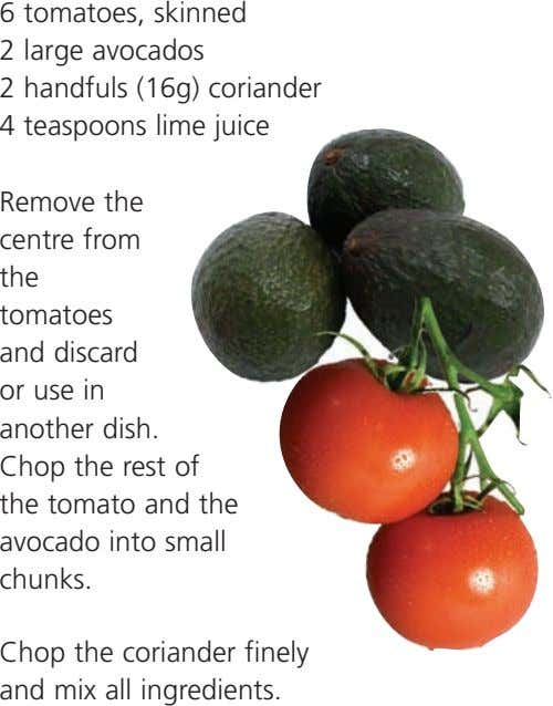 6 tomatoes, skinned 2 large avocados 2 handfuls (16g) coriander 4 teaspoons lime juice Remove