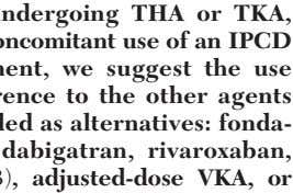 2.3.1. In patients undergoing THA or TKA, irrespective of the concomitant use of an IPCD