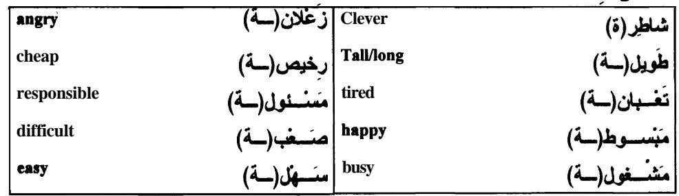 angry (L)& Clever cheap Tallllong (<-)~w.J responsible tired (4-)J^È difficult happy (*-)+ busy