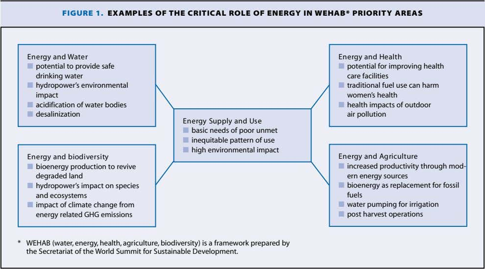 FIGURE 1. EXAMPLES OF THE CRITICAL ROLE OF ENERGY IN WEHAB* PRIORITY AREAS Energy and