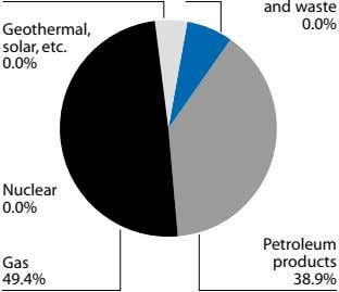 and waste 0.0% Geothermal, solar, etc. 0.0% Nuclear 0.0% Petroleum Gas products 49.4% 38.9%