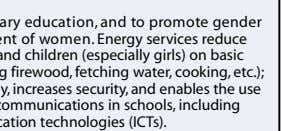To achieve universal primary education, and to promote gender equality and empowerment of women. Energy