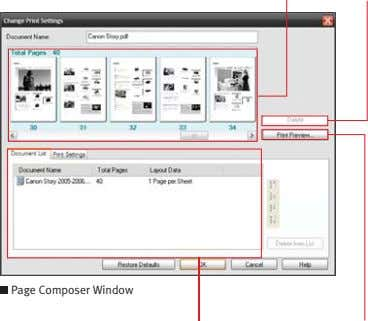 thumbnail of pages Delete the selected page of the document Page Composer Window Display a list