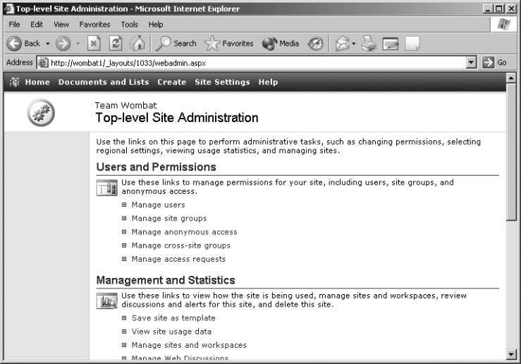 Figure 2-16. Use Site Administration to enable anonymous access 2. Click Manage anonymous access. The