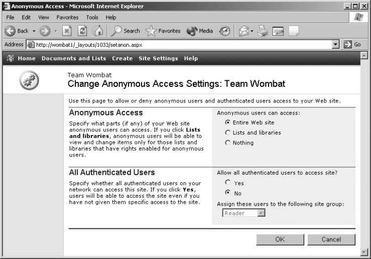 Figure 2-17. Select the level of access to allow for anonymous users 5. Select the