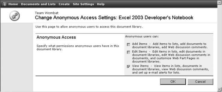 Figure 2-19. Select Change anonymous access Figure 2-20. Choose the level of access for anonymous users