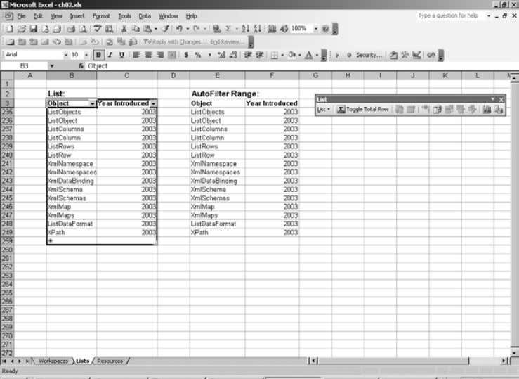 Figure 2-22. A list (left) and an AutoFilter range (right) • Excel can automatically check