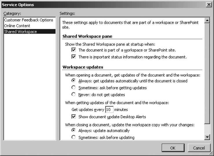 Figure 2-7. Finito!—The workbook is shared Figure 2-8. Shared Workspace options set how updates, alerts, and