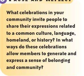 What celebrations in your community invite people to share their expressions related to a common