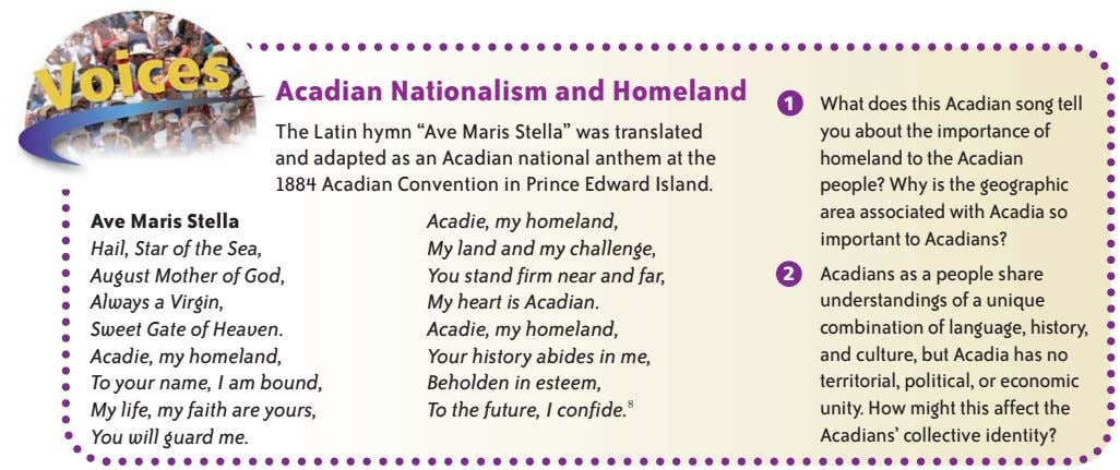 "Acadian Nationalism and Homeland 1 What does this Acadian song tell The Latin hymn ""Ave"