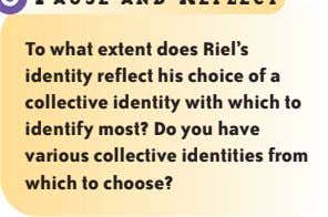 To what extent does Riel's identity reflect his choice of a collective identity with which