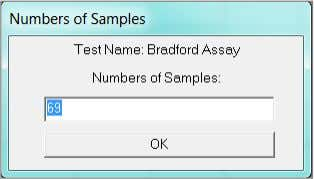 number of samples. The sample number defined in the test definition will appear. Select OK or