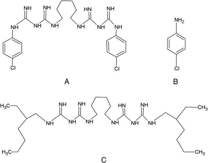 virulence factors of bacteria than CHX. The difference in Figure 3. Molecular formula of CHX (