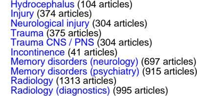 Hydrocephalus (104 articles) Injury (374 articles) Neurological injury (304 articles) Trauma (375 articles) Trauma CNS